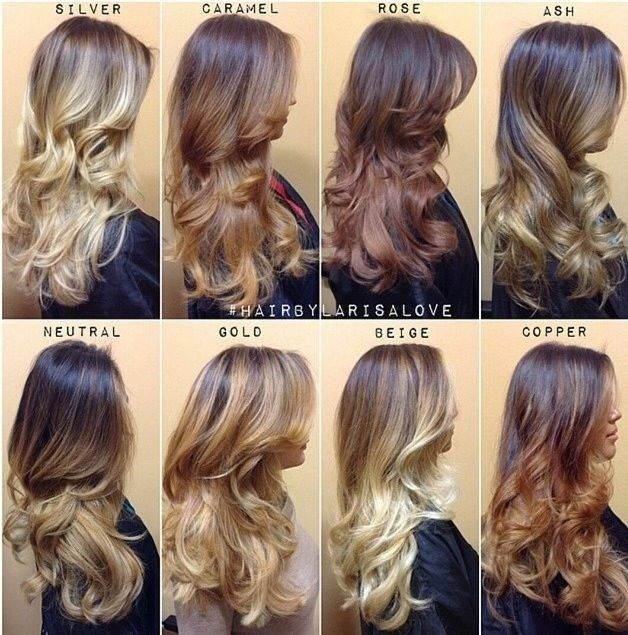 gold, rose, beige, caramel and more ombre hair