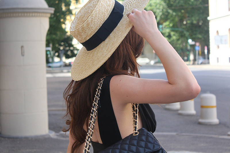 straw boater hat chanel bag