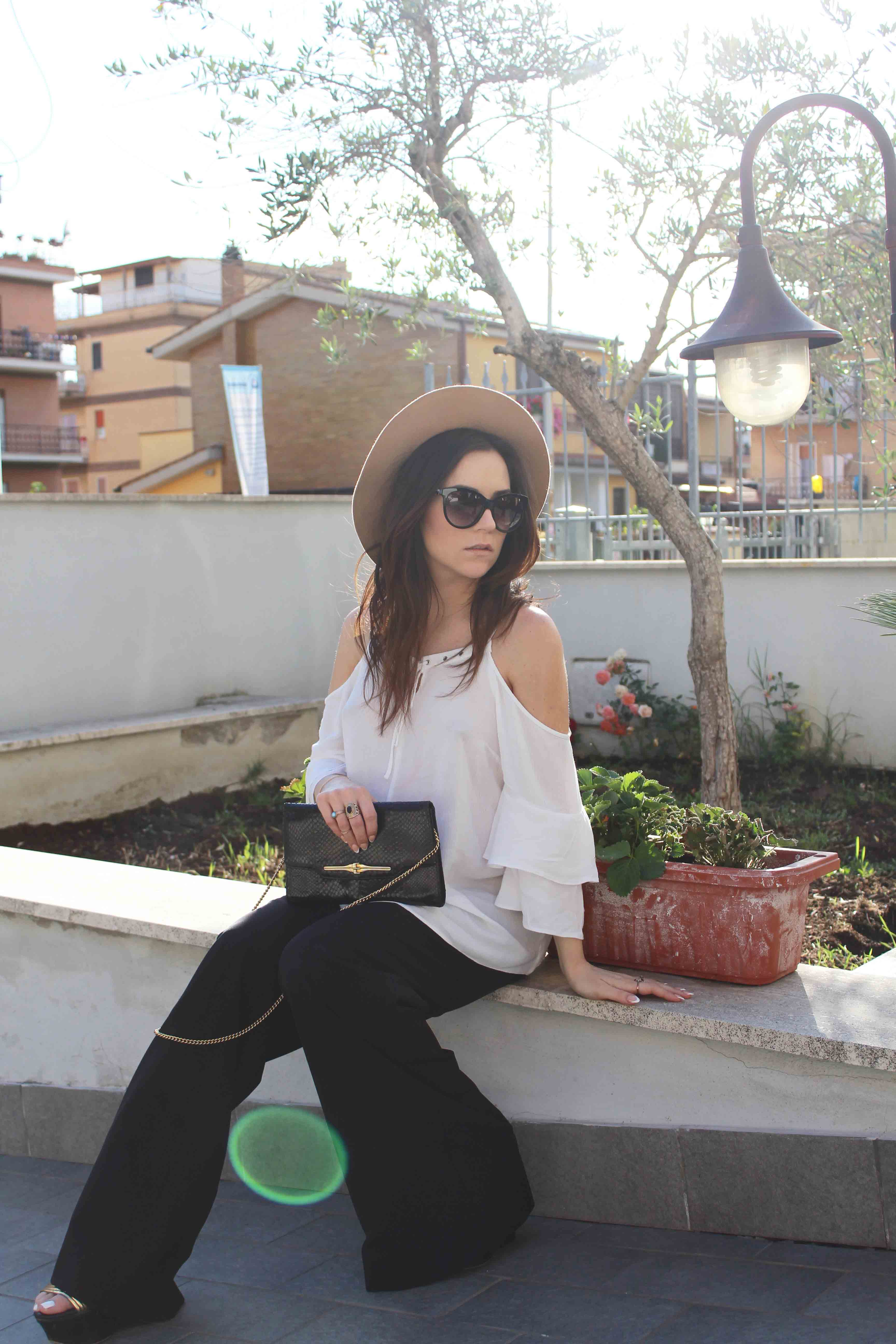 fashion blogger off the shoulder top