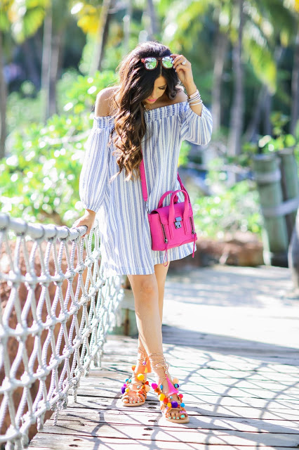 penny lane sandals, elina linardaki sandals, sandals with poms and charm that lace up, over the shoulder dress nordstrom, mini phillip lim pink bag, emily gemma, bahamas_
