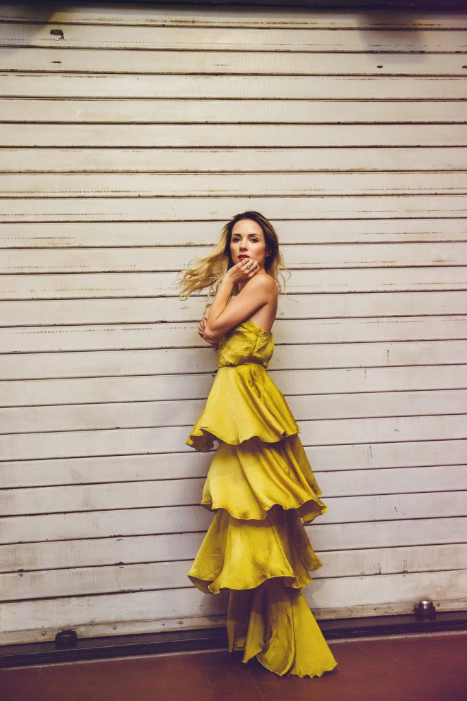 shooting gold dress