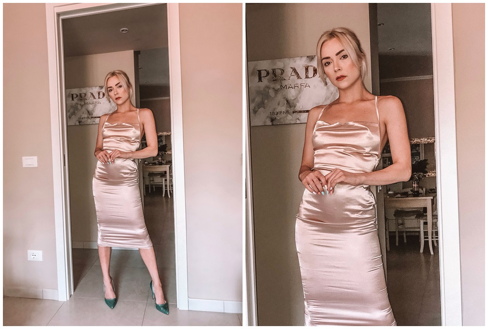 femmeluxe uk satin champagne dress